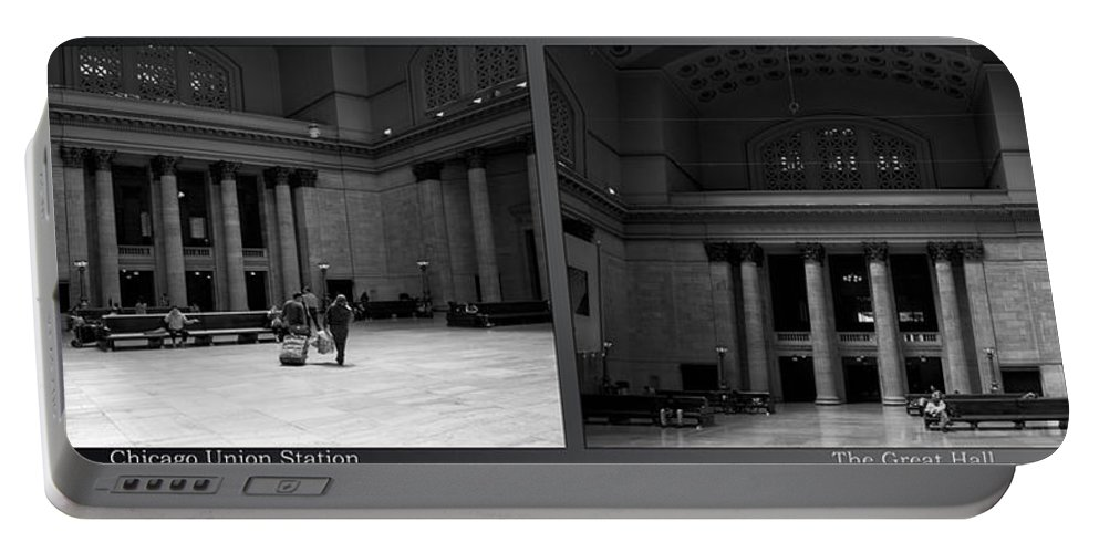 Union Station Portable Battery Charger featuring the photograph Chicago Union Station The Great Hall 2 Panel Bw by Thomas Woolworth