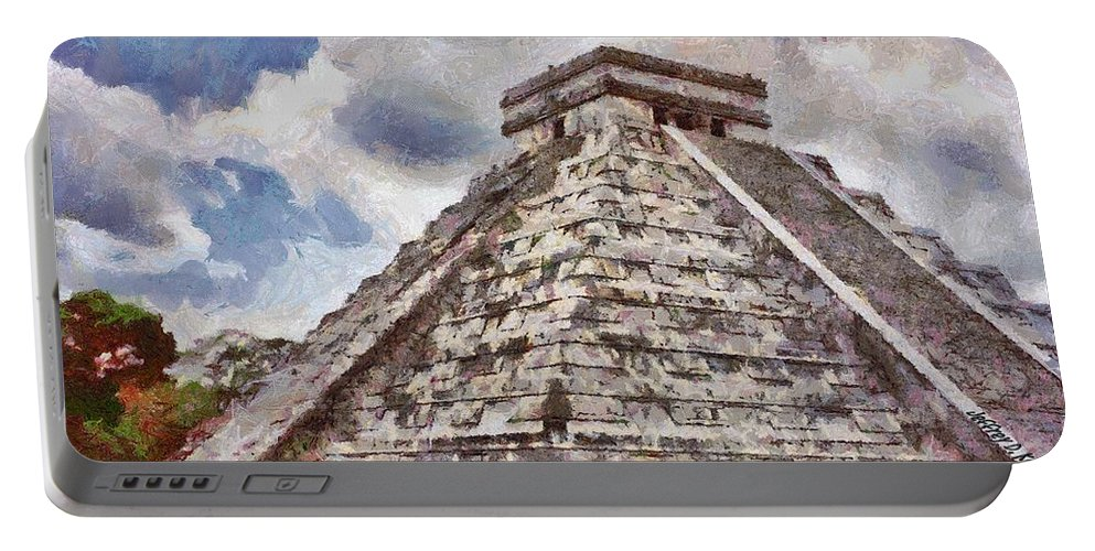 Yucatan Portable Battery Charger featuring the painting Chichen Itza by Jeffrey Kolker