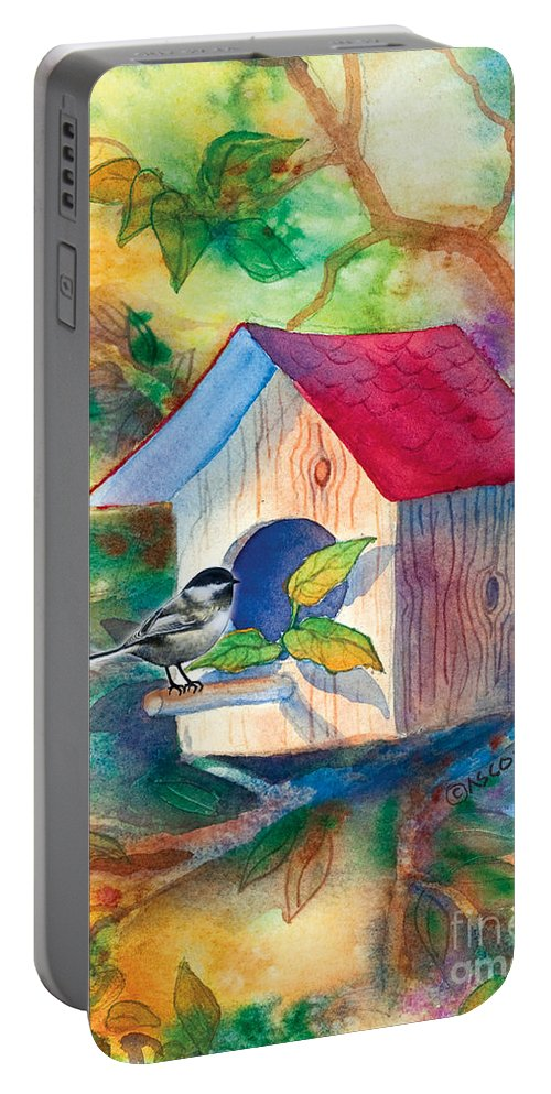 Chickadee Portable Battery Charger featuring the painting Chickadee Bungalow by Teresa Ascone