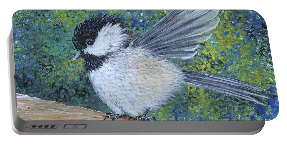 Chickadee Portable Battery Charger featuring the painting Chickadee Landing by Dee Carpenter