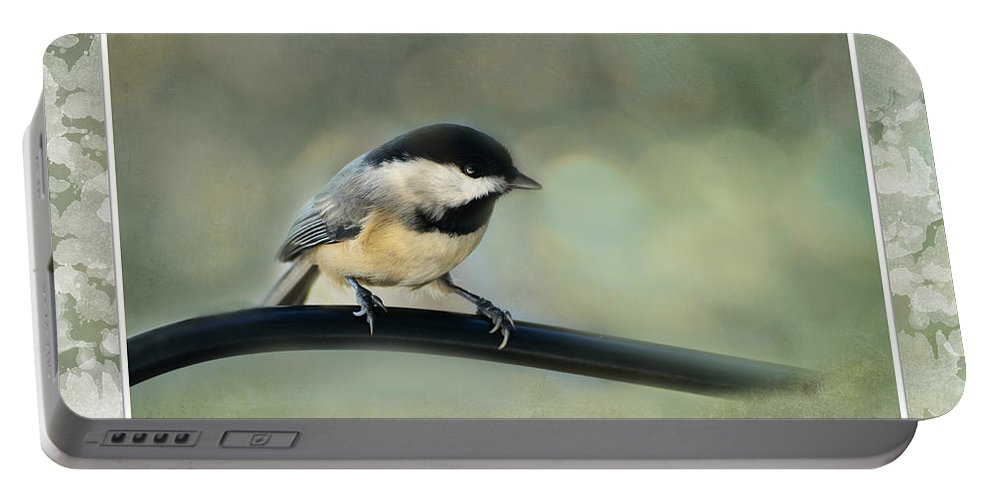 Nature Portable Battery Charger featuring the photograph Chickadee With Frame by Debbie Portwood