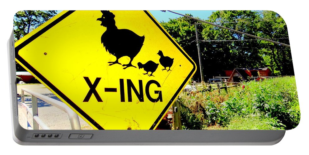 Signs Portable Battery Charger featuring the photograph Chicken Crossing by Ed Weidman
