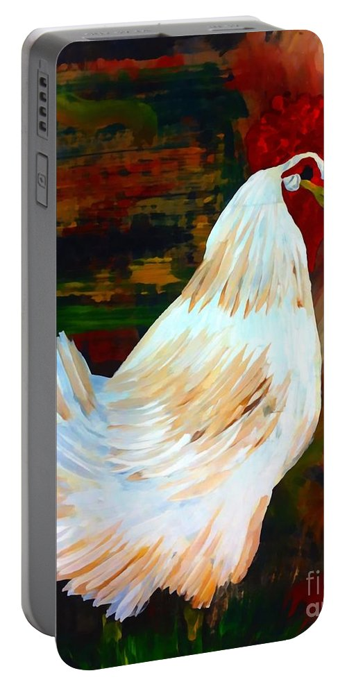 Chicken Portable Battery Charger featuring the painting Chicken--yard Bird Impression by Saundra Myles
