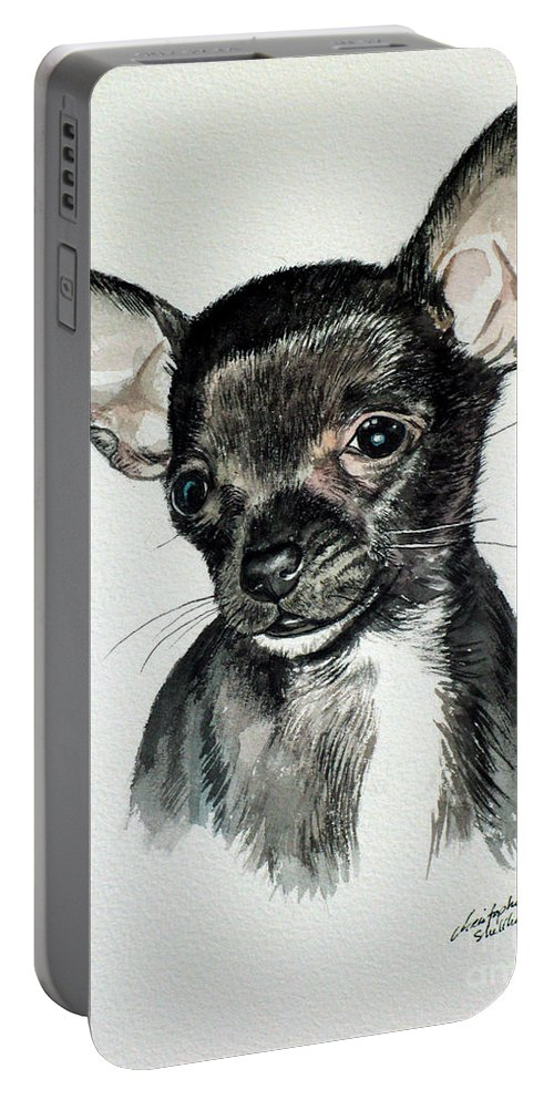 Dog Portable Battery Charger featuring the painting Chihuahua Black 2 by Christopher Shellhammer