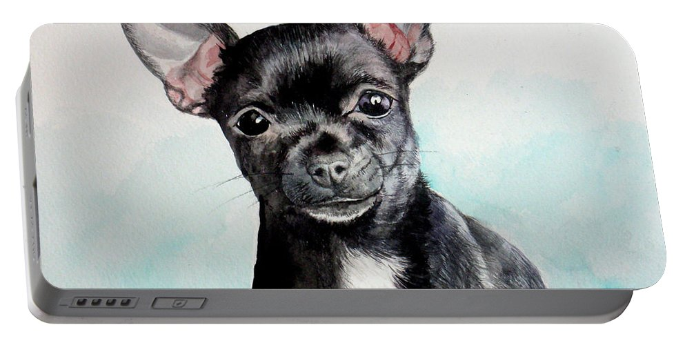 Dog Portable Battery Charger featuring the painting Chihuahua Black by Christopher Shellhammer