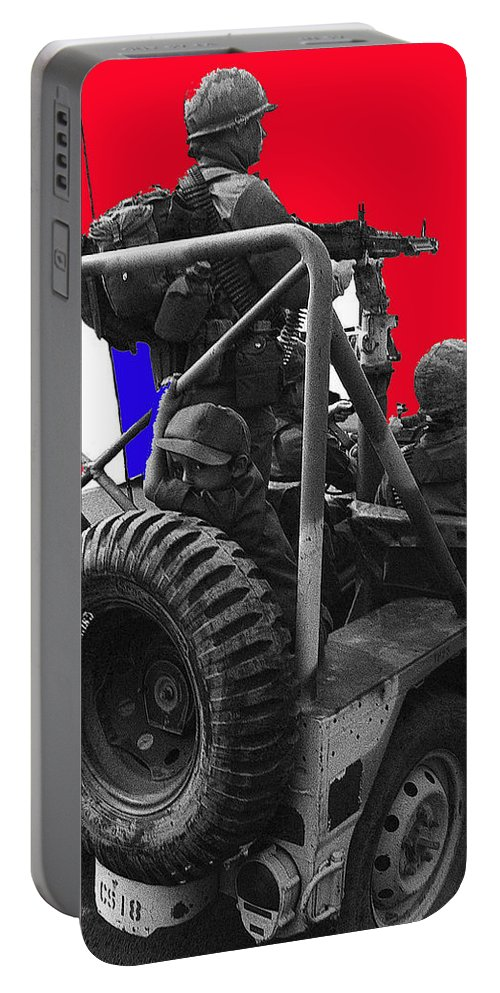 Child Soldier 100th Anniversary Parade Nogales Arizona 1980 Color Added Portable Battery Charger featuring the photograph child soldier 100th anniversary parade nogales Arizona 1980-2012 by David Lee Guss