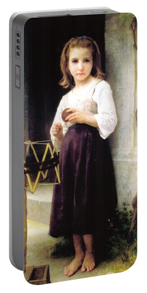 William Bouguereau Portable Battery Charger featuring the digital art Child With A Ball Of Wool by William Bouguereau