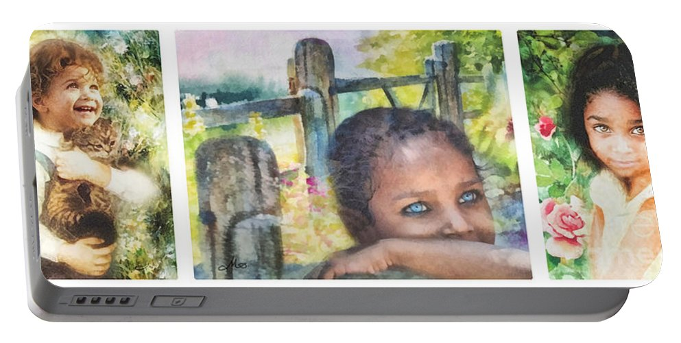 Childhood Triptic Portable Battery Charger featuring the painting Childhood Triptic by Mo T