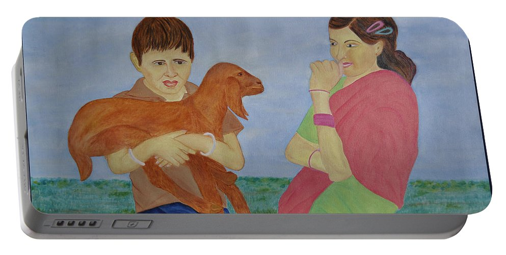 Painting Portable Battery Charger featuring the painting Children In Indian Village by Bliss Of Art
