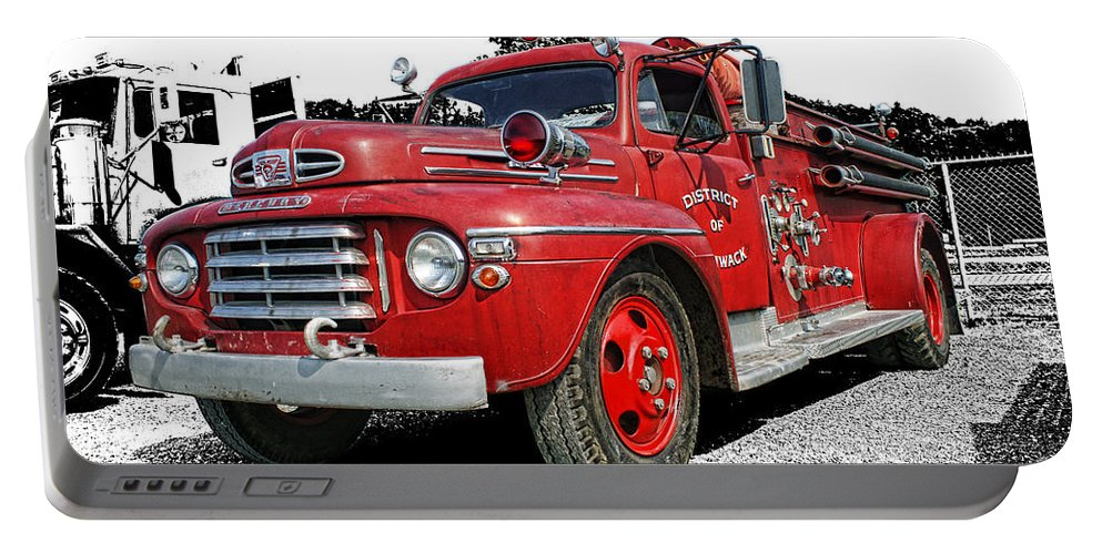 Old Fire Trucks Portable Battery Charger featuring the photograph Chilliwack Fire- Mercury Firetruck by Randy Harris