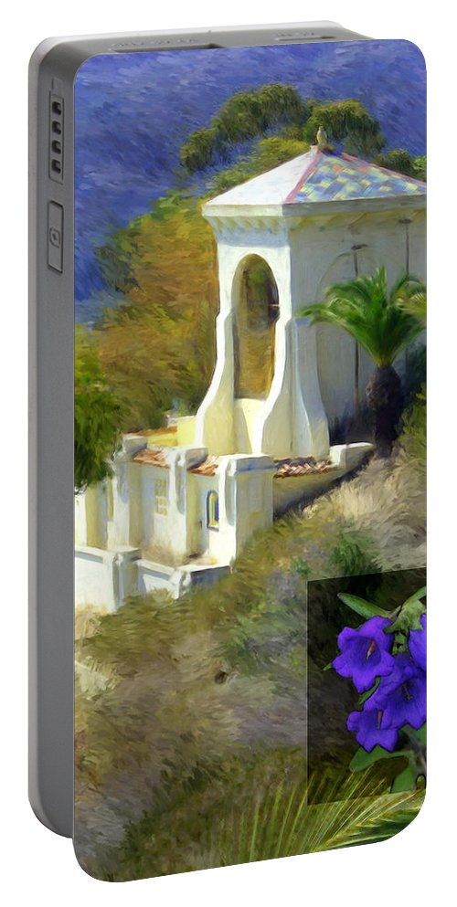 Chimes Tower Portable Battery Charger featuring the digital art Chimes Tower Bell Flower by Snake Jagger
