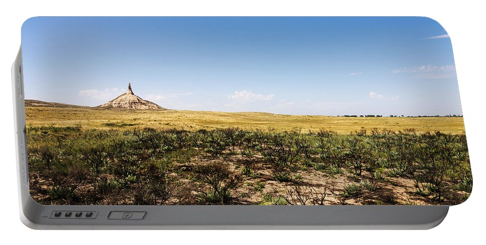 Chimney Rock Landmark Bayard Western Nebraska Portable Battery Charger featuring the photograph Chimney Rock - Bayard Nebraska by Brian Harig
