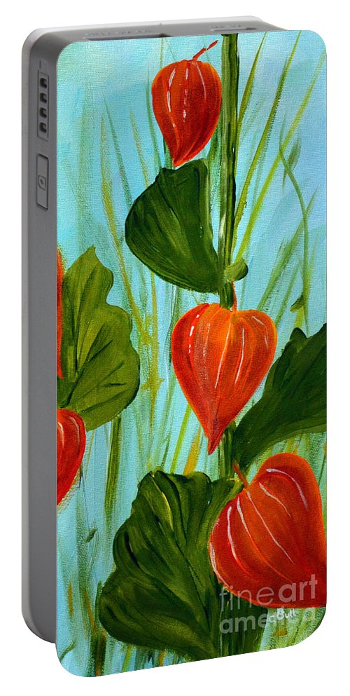 Nightshade Portable Battery Charger featuring the painting Chinese Lanterns by Claire Bull