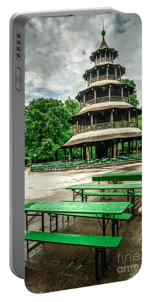 Architecture Portable Battery Charger featuring the photograph Chinesischer Turm I by Hannes Cmarits