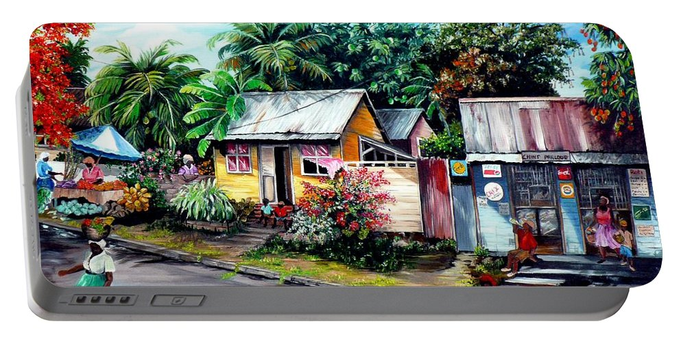 Landscape Painting Caribbean Painting Shop Trinidad Tobago Poinciana Painting Market Caribbean Market Painting Tropical Painting Portable Battery Charger featuring the painting Chins Parlour   by Karin Dawn Kelshall- Best