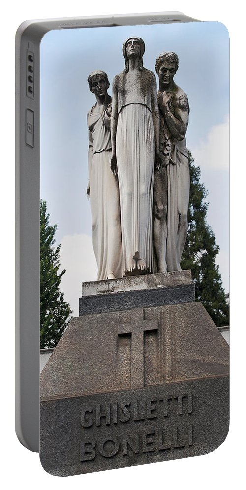 Vertical Portable Battery Charger featuring the photograph Chisletti Bonelli Memorial Front View Monumental Cemetery Milan by Sally Rockefeller