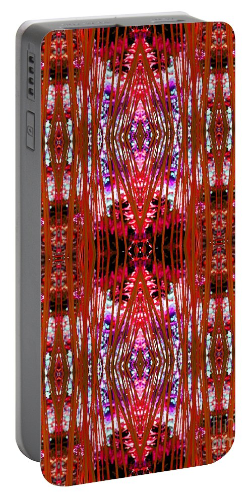 Abstract Portable Battery Charger featuring the photograph Chive Abstract Red by Barbara Moignard