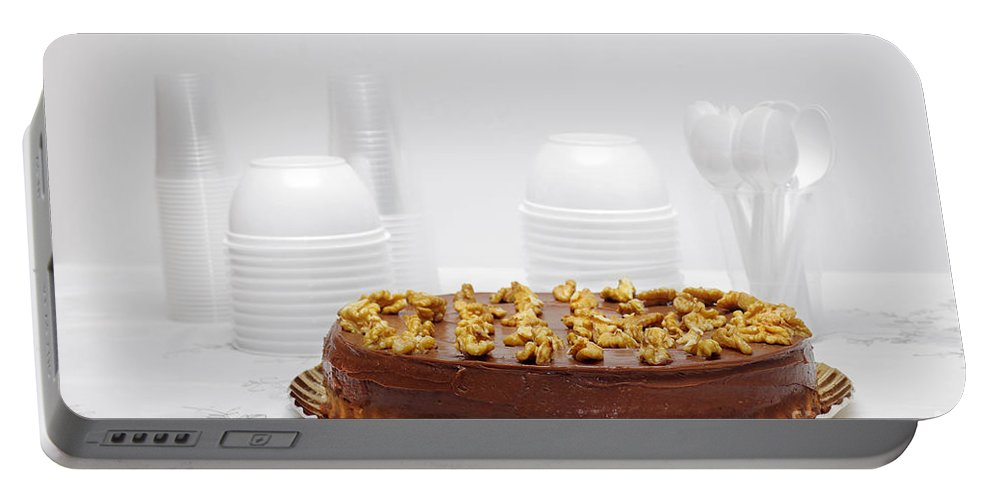 Background Portable Battery Charger featuring the photograph Chocolate Cake by Carlos Caetano
