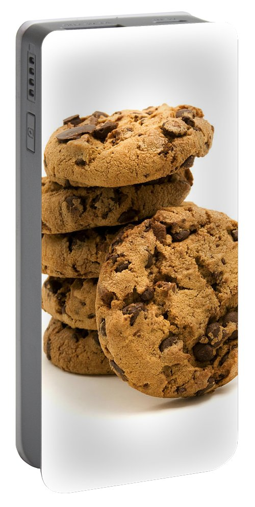 White Background Portable Battery Charger featuring the photograph Chocolate Chip Cookies by Fabrizio Troiani