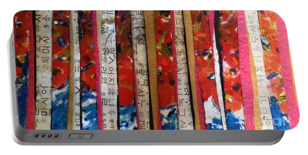 Acrylic Portable Battery Charger featuring the painting Chop Sticks by Sherry Harradence