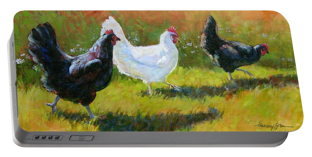 Chickens Portable Battery Charger featuring the painting Chorus Girls by Tracie Thompson