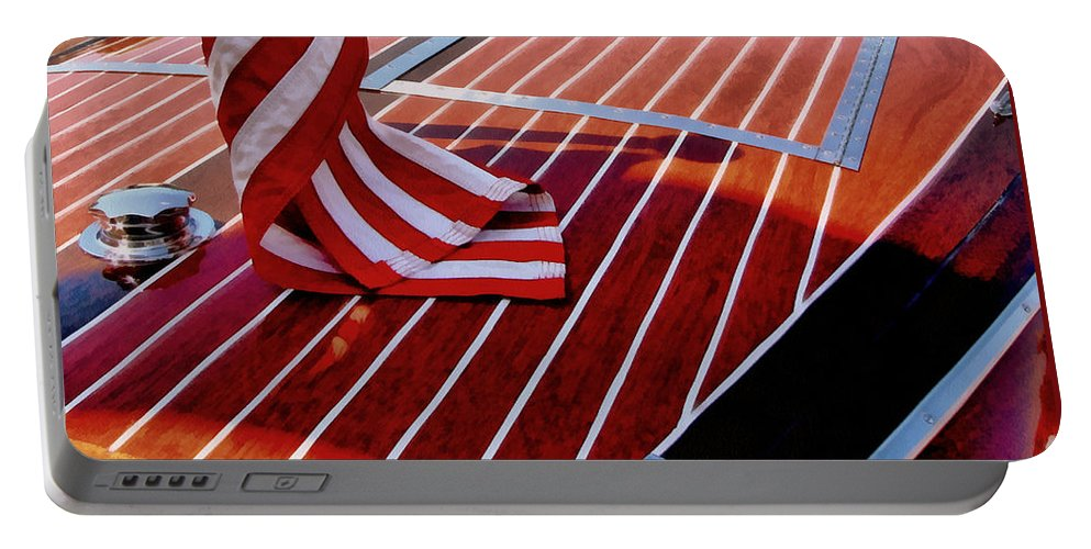Classic Boat Portable Battery Charger featuring the photograph Chris Craft With American Flag by Michelle Calkins
