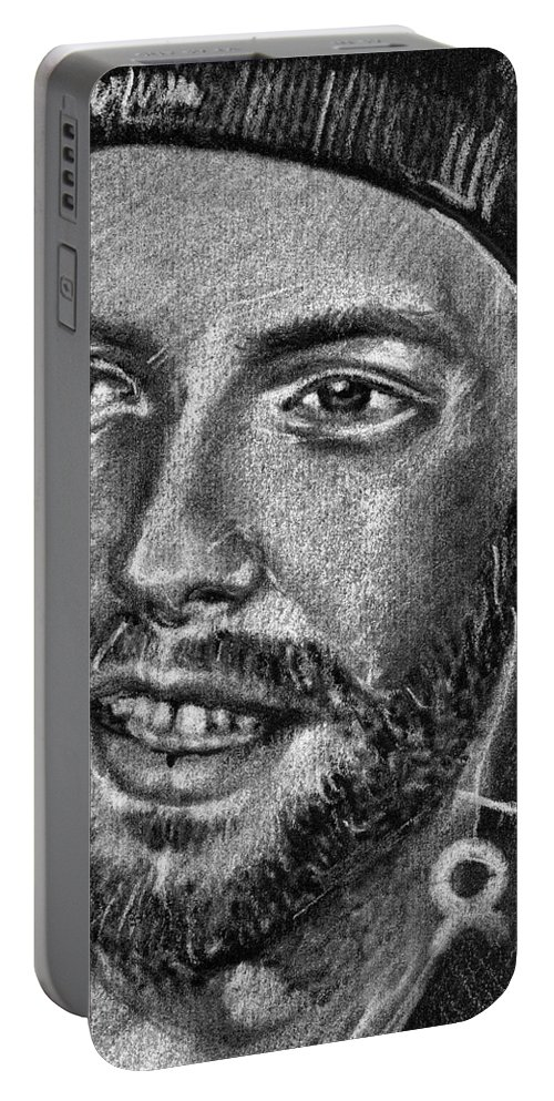 Coldplay Portable Battery Charger featuring the drawing Chris Martin - Coldplay by Daliana Pacuraru