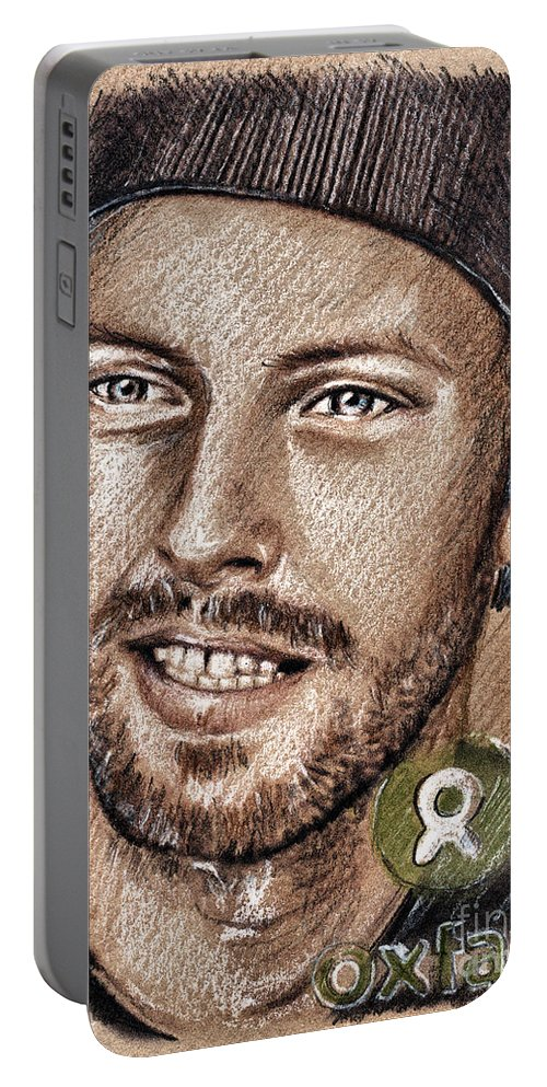 Chris Martin Portraits Portable Battery Charger featuring the drawing Chris Martin by Daliana Pacuraru