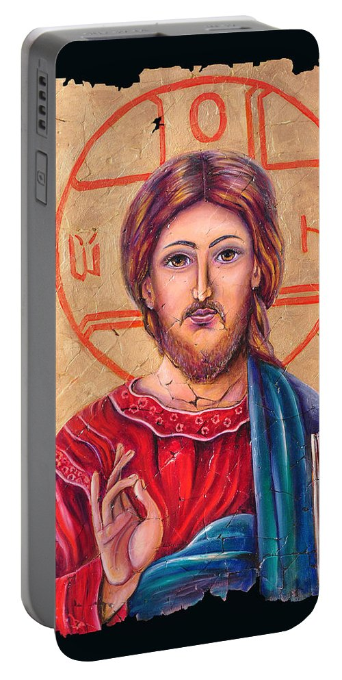 Christ Jesus Portable Battery Charger featuring the painting Christ Icon Fresco by OLena Art Brand