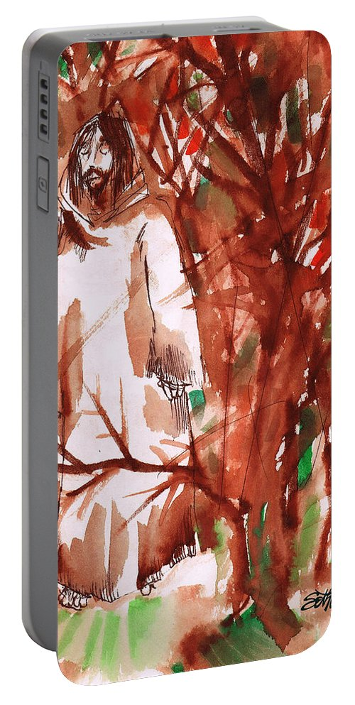 Christ In The Garden Portable Battery Charger featuring the painting Christ in the Forest by Seth Weaver