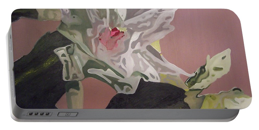 Flower Portable Battery Charger featuring the painting Christmas Bloom by Claudia Goodell