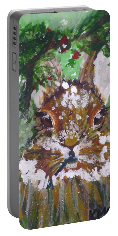 Watercolor Portable Battery Charger featuring the painting Christmas Bunny by Kimberly Maxwell Grantier