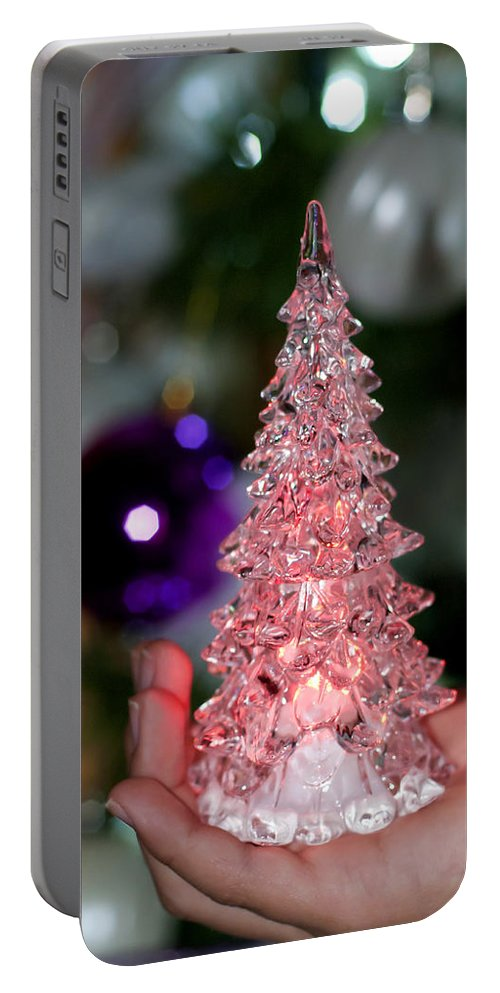 Abstract Portable Battery Charger featuring the photograph A Christmas Crystal Tree In Pink by Pedro Cardona Llambias