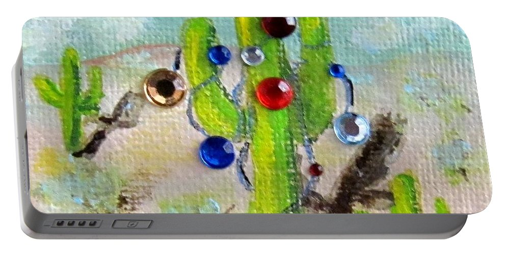 Christmas Portable Battery Charger featuring the painting Christmas Cactus by Laurie Morgan
