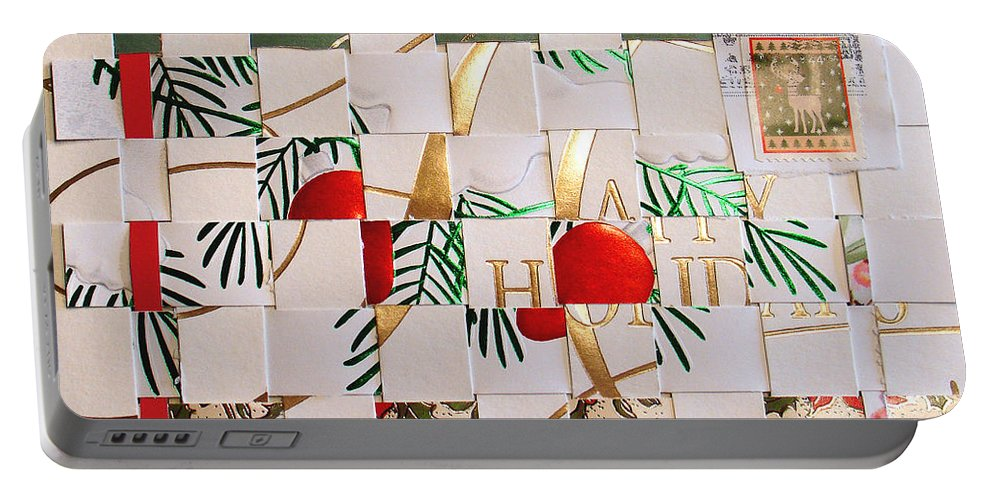 Christmas Portable Battery Charger featuring the mixed media Christmas Card Abstract by Steve Karol