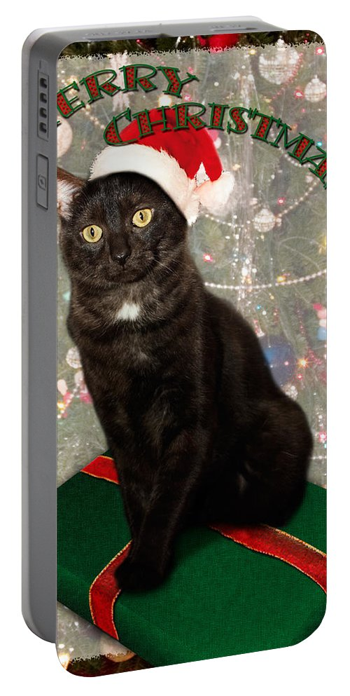 3scape Portable Battery Charger featuring the photograph Christmas Cat by Adam Romanowicz