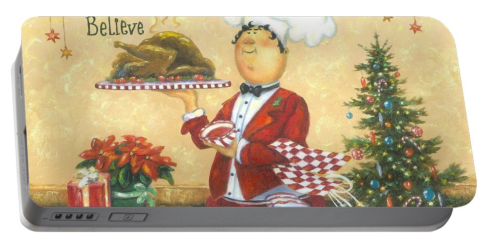 Chef Portable Battery Charger featuring the painting Christmas Chef by Vickie Wade