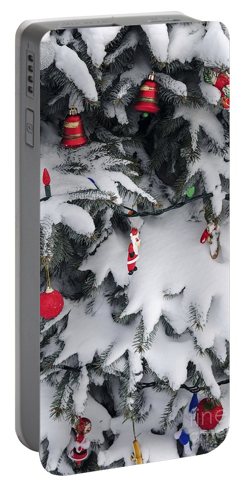 Christmas Portable Battery Charger featuring the photograph Christmas Decorations On Snowy Tree by Elena Elisseeva