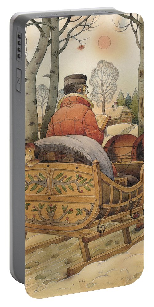 Christmas Gretting Card Winter Books Lanscape Snow White Holiday Portable Battery Charger featuring the painting Christmas Eve by Kestutis Kasparavicius