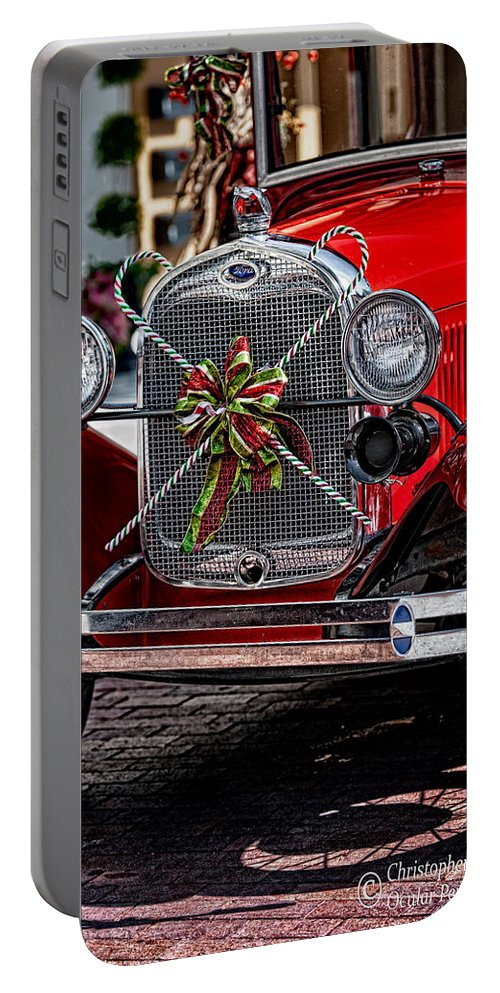 Ford Portable Battery Charger featuring the photograph Christmas Grillwork by Christopher Holmes