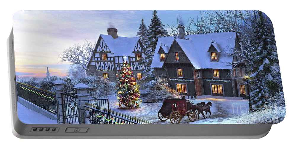 Cottage Portable Battery Charger featuring the painting Christmas Homecoming by Dominic Davison