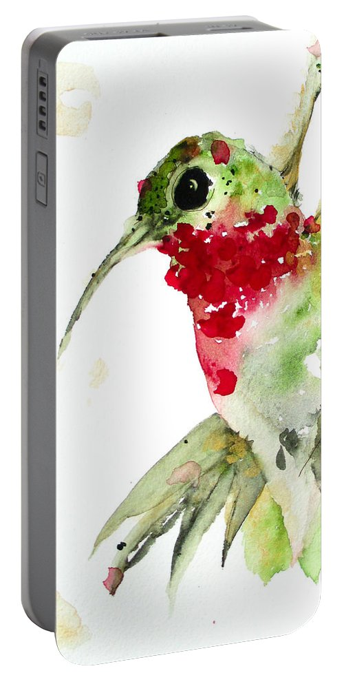 Hummingbird Watercolor Portable Battery Charger featuring the painting Christmas Hummer by Dawn Derman