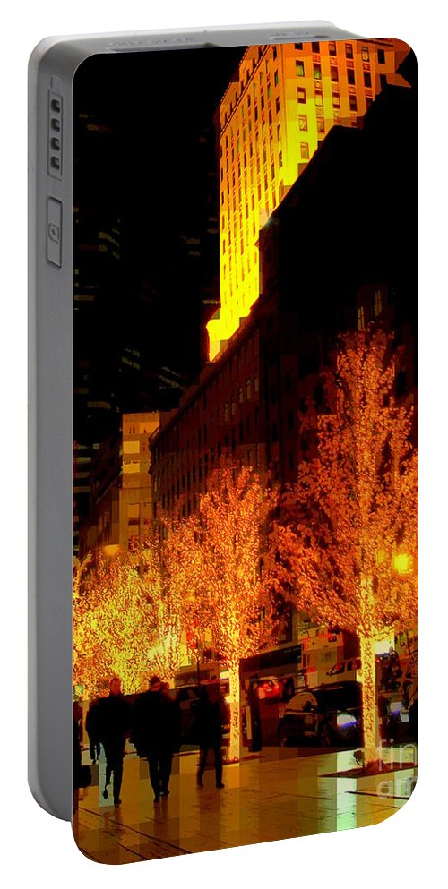Abstract Portable Battery Charger featuring the photograph Christmas In New York - Trees And Star by Miriam Danar