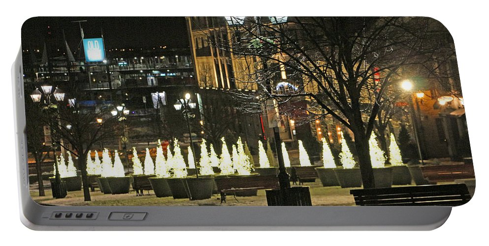 Montreal Portable Battery Charger featuring the photograph Christmas Lights by Munir Alawi