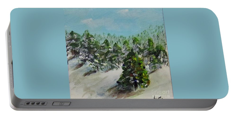 Christmas Portable Battery Charger featuring the painting Christmas Mountain by Laurie Morgan