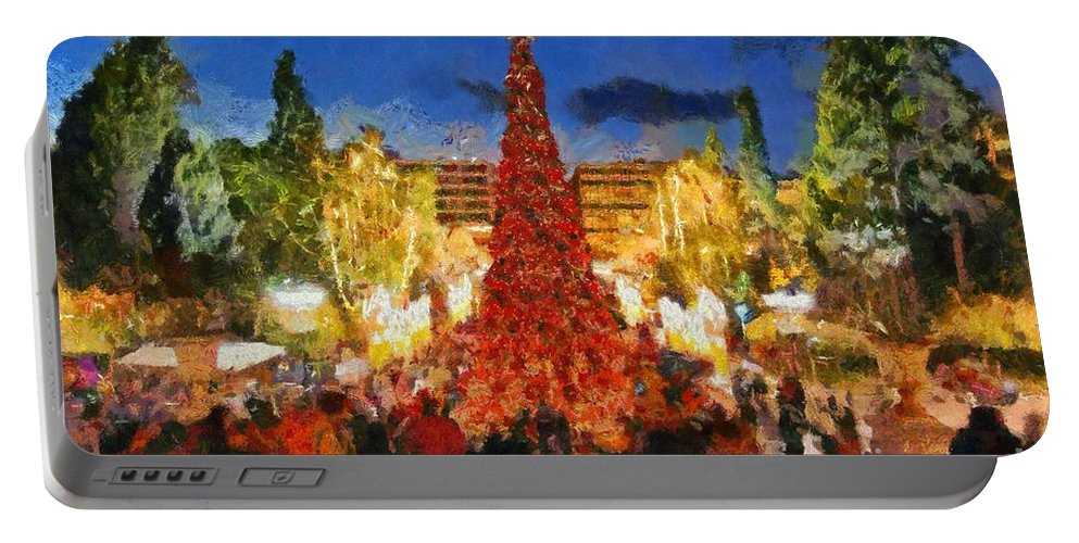 Christmas Portable Battery Charger featuring the painting Christmas Night by George Atsametakis