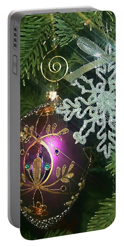 Christmas Ornaments Portable Battery Charger featuring the photograph Christmas Ornaments 2 by Ellen Henneke