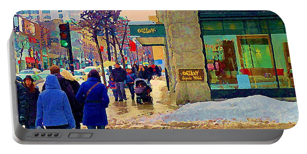 Downtown Montreal Portable Battery Charger featuring the painting Christmas Shoppers Ogilvys Enchanted Village Window Display A Montreal Xmas Tradition Carole Spandau by Carole Spandau