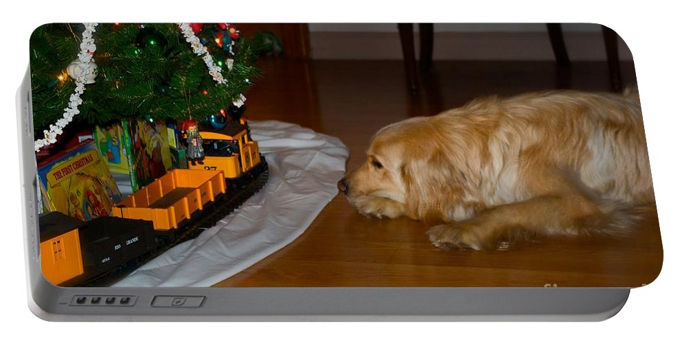 Christmas Cards Portable Battery Charger featuring the photograph Christmas Train by Frank J Casella