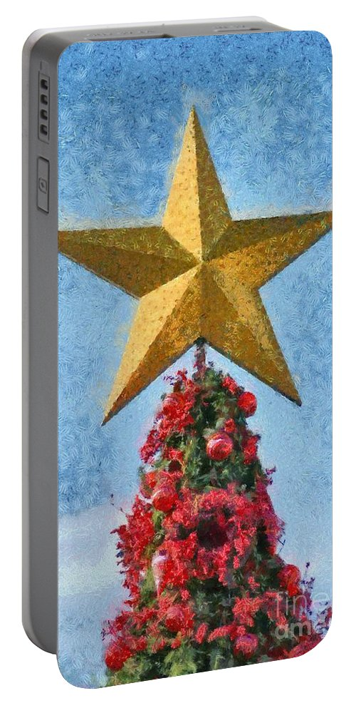 Christmas Portable Battery Charger featuring the painting Christmas Tree by George Atsametakis